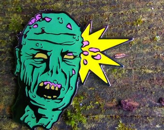 Headshot zombie enamel pin