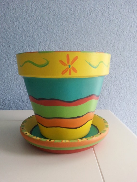 Hand Painted Flower Pot Amp Saucer 6 Mexican Inspired