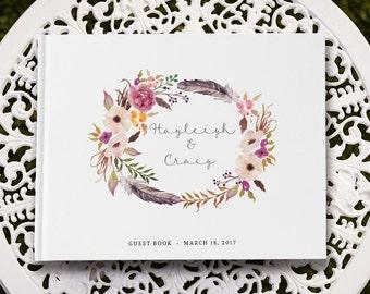 Boho Wedding Guest Book Custom, Boho Bridal Guest Book, Wedding Feather, Forest Wedding Guestbook, GB 089