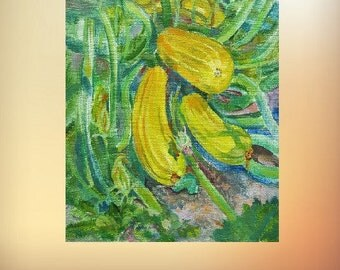 Picture Art Original Oil Painting Vegetable Marrows