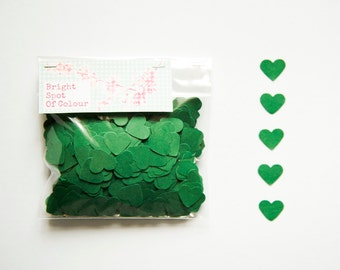 1000 Forest Green Heart Confetti for wedding, parties, scrapbooking and decoration. 1 cm Die cut hearts - Baby shower - Dark green hearts