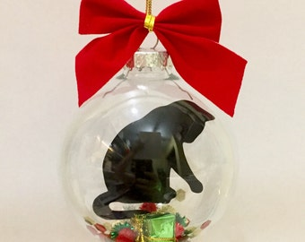 Cat Christmas Ornament, Black Cat Christmas Ornament, Cat Memorial Ornament