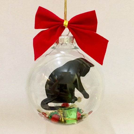 Cat Christmas Ornament Black Cat Christmas Ornament Cat