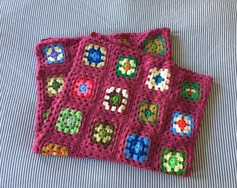 Handmade Vintage Granny Square Throw, Free Shipping