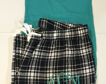 Monogrammed Flannel Pajama Bottoms and  Top Set
