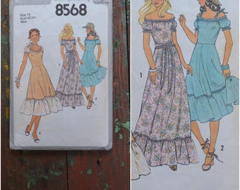 "Vintage 70's Sewing Pattern, Simplicity dressmaking Pattern 8568, Printed pattern Misses' Sundress in two lengths and sash, Bust 36"" /  92cm"