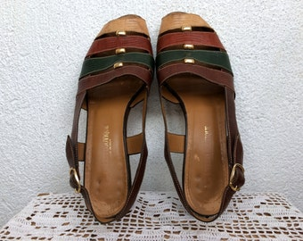 80s Slingbacks, Leather Sandals, Italian Leather Shoes, Strappy Sandals, Block Heels, Size 38, US 7 1/2, Brown Leather Low Heel Pumps