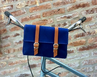 Navy Blue cotton canvas and leather bicycle bag/ handlebar bag/ bicycle accessories/ navy blue bag