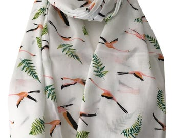 Flamingo Scarf, White Cotton Scarf with a pink Flamingoes Print, Ladies Summer Wrap Shawl