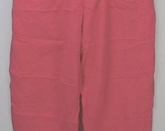 vintage women's clothing | women's pants size M | 70s Jams World | pull on | elastic drawstring waist | beach resort | detail seams | pink