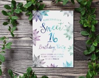 Sweet 16 Invitation Printable, Watercolor Birthday Invitation, Floral Birthday Invite, Printable Sweet 16 Birthday Party Invitation