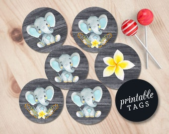cupcake toppers baby shower elephant baby shower favor tags elephant