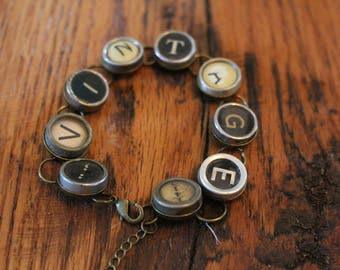 Vintage Typewriter Key Bracelet,inspiration,steampunk,unique gift,recycled,upcycled,reclaimed,vintage gift,industrial