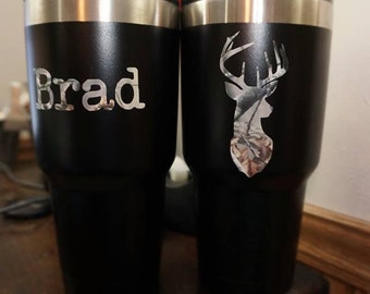Hunting Tumbler with Camo Deer and Name
