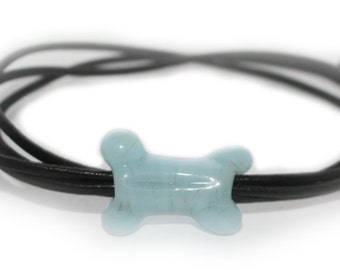 Bracelet cylindrique Uomo os de chien, cadeau homme, cuir, verre murano, Griffon korthals, Wirehaired Pointing Griffon, passionnes animaux