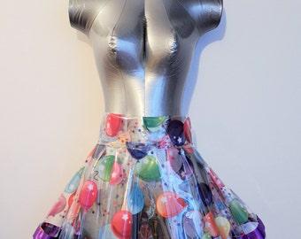 Transparent PVC Party Balloon Skirt with Customizable Satin Trim