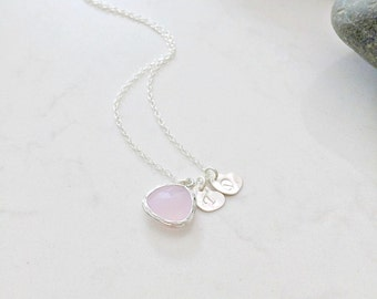 rose quartz necklace with hearts initial necklace rose quartz jewelry hand stamped hearts heart jewelry letter necklace monogram jewelry