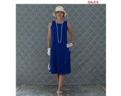 SALE - Sapphire blue drop waist dress with ruffled skirt detail, Great Gatsby dress, 1920s flapper dres, robe Charleston, 20er kleid