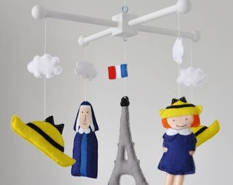 Crib mobile, Baby mobile - Nursery decoration - Ludwig Bemelmans' Madeline, Madeline themed mobile, Paris themed nursery, baby shower gift