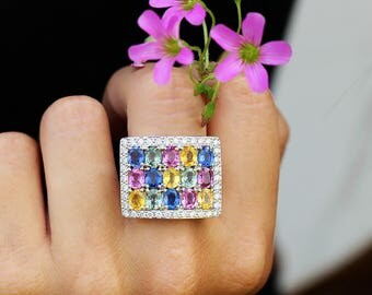 Multi-Color Sapphire Cluster Ring with Diamonds in 18kt White Gold 7.45ctw
