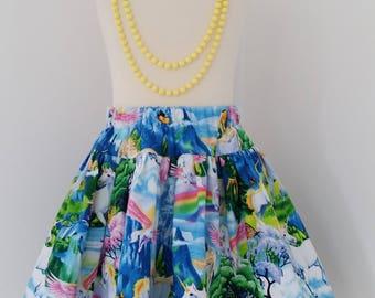 Unicorn twirl skirt,  rainbow party, magical skirt,  unicorn party,  unicorns and rainbows, kids clothing, uk