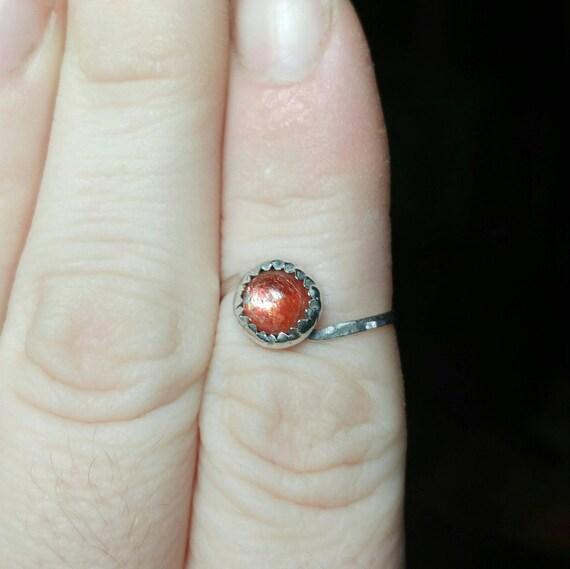 Simple Sunstone Ring | Indian Sunstone Ring | Sterling Silver Ring Sz 7 | Confetti Sunstone Ring | Simple Orange Gemstone Ring