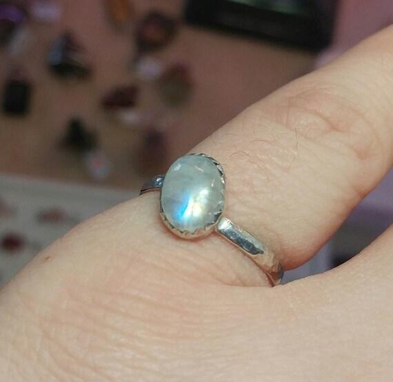 Simple Moonstone Ring   Rainbow Moonstone Ring   Sterling Silver Ring Sz 8.25   Simple White Ring   June Birthstone Ring   Blue Moonstone