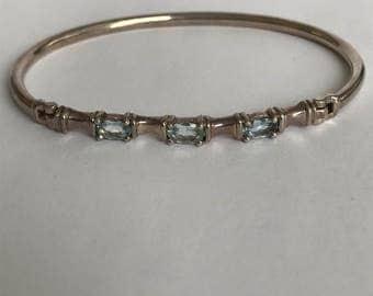 Aquamarine Tennis Bracelet Bangle 925 Sterling Silver Vintage Jewelry Birthday Mother's Anniversary Graduation Gift Silpada Boho Artisan