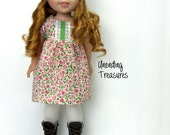 14 inch doll clothes AG doll clothes pink sage green floral babydoll dress and hat made to fit like wellie wishers doll clothes