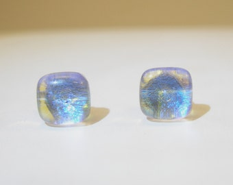 Dichroic glass stud  Earrings, post earrings, surgical steel,  fused glass lobe earrings, dot earrings, Made in Italy