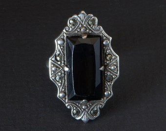 Art Deco Ring, Black Onyx and Marcasites, 1930's, Signed Uncas, Sterling Black Onyx Ring