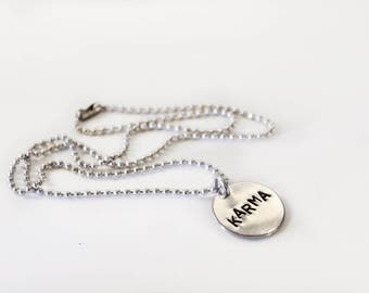 Custom aluminum necklace hand stamped charm