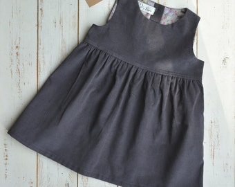 Sleeveless Girls Dress, Corduroy, Bottom Frill, Grey