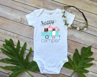 Happy Camper shirt, Baby Girl Gift, Cute baby bodysuit, Funny Baby Gift, Hipster Baby, Cute Baby Shower Gift, Camping Bodysuit,Hippie baby