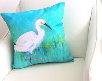 Turquoise Pillow, Bird Pillow, Bird Decor, Snowy Egret Print, Bird Pillow, Egret Print, Nautical Pillow, Decorative Pillow, Pillow Cover
