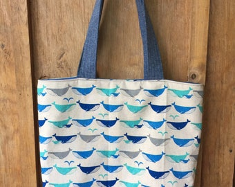 Whale canvas tote bag- Everyday Sylvie Tote