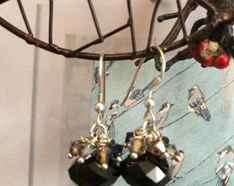 Black sterling silver dangle earrings