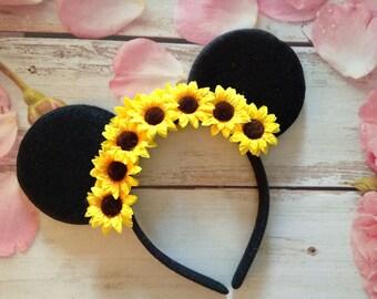 Sunflower Mouse Ears Headband- Flower headband-vacation,party headband,Halloween costume,dress up,photo prop