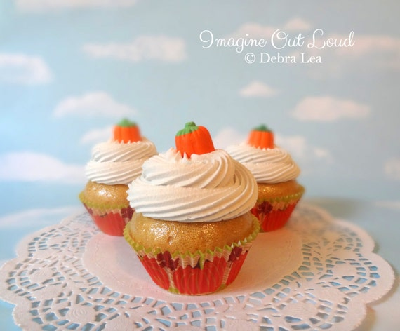 Fake Cupcake Handmade Happy Thanksgiving Candy Pumpkin Cinnamon Spice Cream Faux Dessert Decoration Kitchen Decor