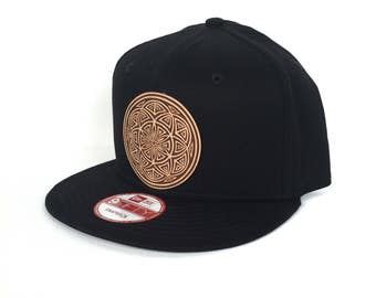Seed of Life Mandala Snapback Hat -  Black New Era Snapback Hat - Sacred Geometry Hat - Baseball Hat - Festival Snapback - Leather Patch