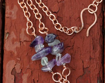 Amethyst, Copper and Fluorite Necklace