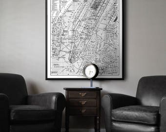 New York Map Print : Vintage 1900s Lithograph Map of New York Giclee Print