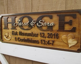 Blessed Wedding Gift Personalized Family Name Signs Custom Wooden Sign Last name Establish sign Bible Verse Gift Farmhouse Decor Sign Wood