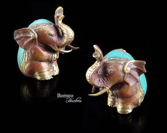 """Elephant With Lucky Raised Trunk 3.1"""" Brass Majestic Elephant In Full Processional Attire Two Happy Elephants Sold As Pair"""