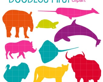 Colorful Animal Silhouettes SET 4 Digital Clip Art for Scrapbooking Card Making Cupcake Toppers Paper Crafts