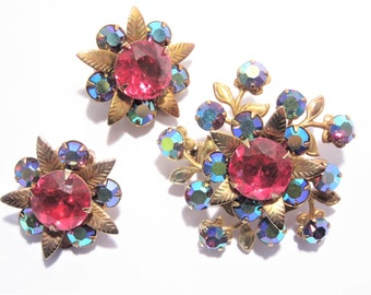 Vintage Deep Aurora Borealis Rhinestone Brooch Earrings Jewelry Set