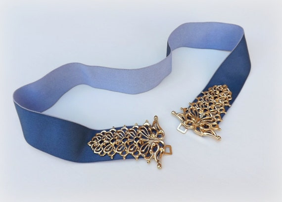 navy blue elastic waist belt blue belt wide belt gold