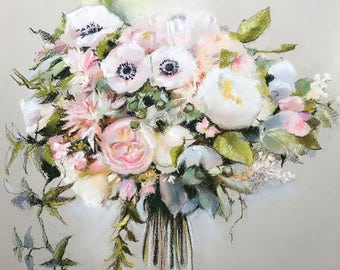 Wedding Bouquet Commission Painting, Waiting list for September, Soft Pastels Painting, MADE TO ORDER, Custom Painting, Anniversary Gift