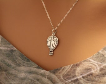 Sterling Silver Hot Air Balloon Charm Necklace, Hot Air Balloon Necklace, Hot Air Balloon Pendant Necklace, Silver Hot Air Balloon Necklace