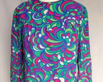Vintage 60s 70s Mod YeYe Hippie Green, Purple & Pink Groovy Psychedelic Swirl Print Tunic Smock Top Small